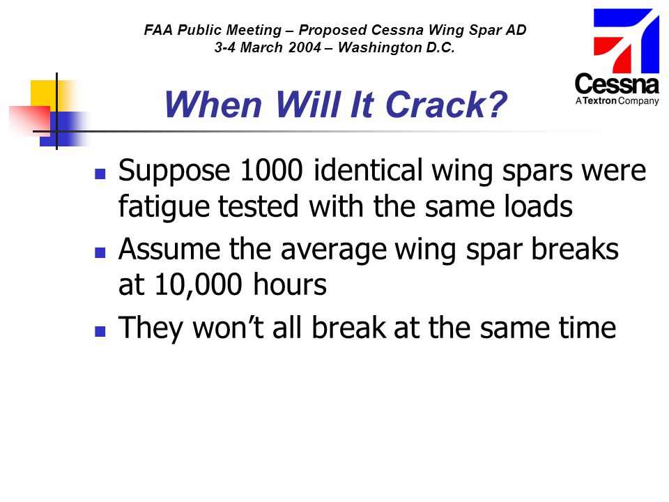 FAA Public Meeting – Proposed Cessna Wing Spar AD 3-4 March 2004 – Washington D.C. When Will It Crack? Suppose 1000 identical wing spars were fatigue