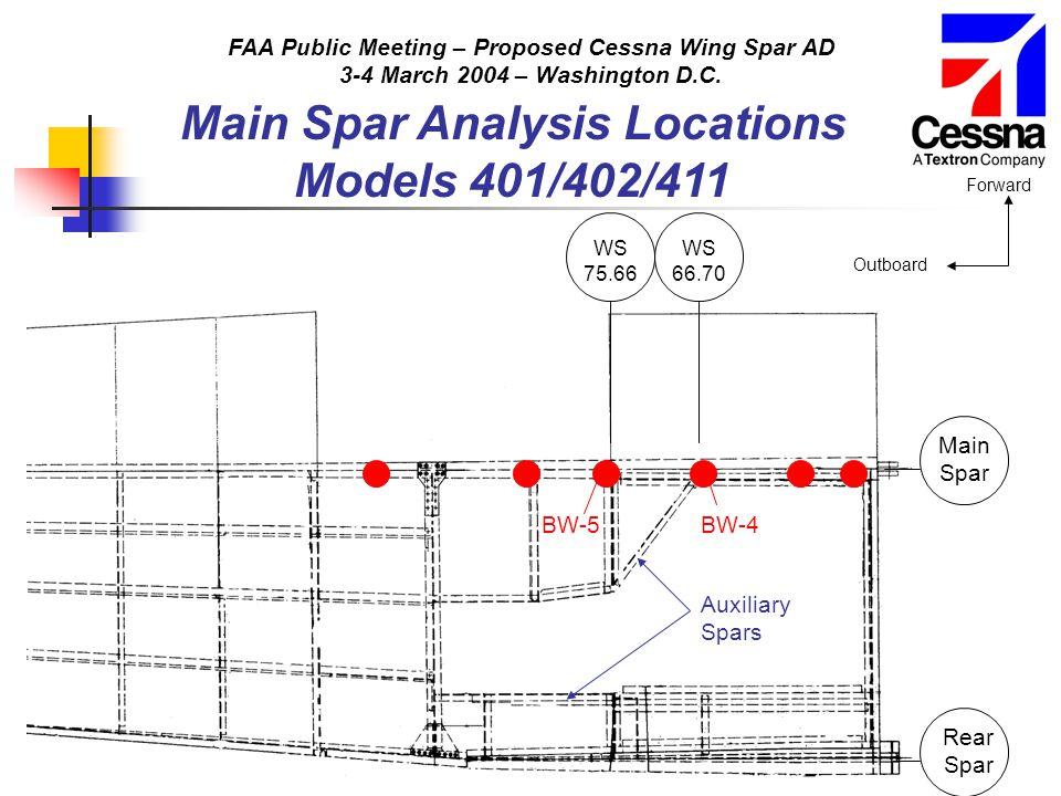 FAA Public Meeting – Proposed Cessna Wing Spar AD 3-4 March 2004 – Washington D.C. Main Spar Analysis Locations Models 401/402/411 Main Spar Rear Spar