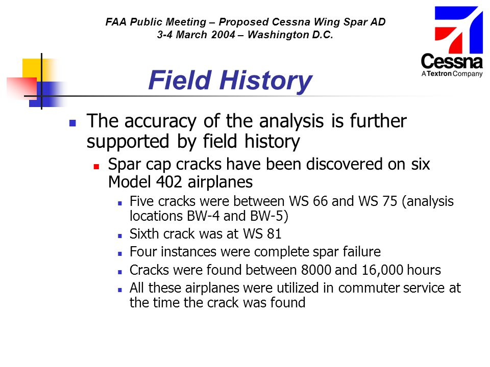 FAA Public Meeting – Proposed Cessna Wing Spar AD 3-4 March 2004 – Washington D.C. Field History The accuracy of the analysis is further supported by