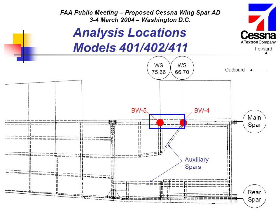 FAA Public Meeting – Proposed Cessna Wing Spar AD 3-4 March 2004 – Washington D.C. Analysis Locations Models 401/402/411 Main Spar Rear Spar WS 66.70