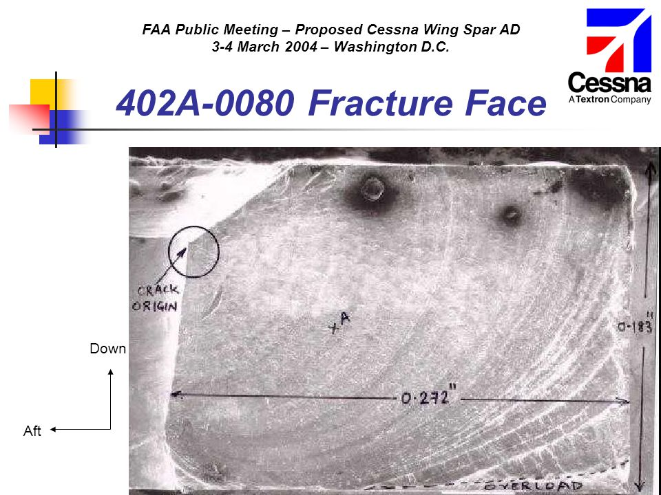 FAA Public Meeting – Proposed Cessna Wing Spar AD 3-4 March 2004 – Washington D.C. Aft Down 402A-0080 Fracture Face