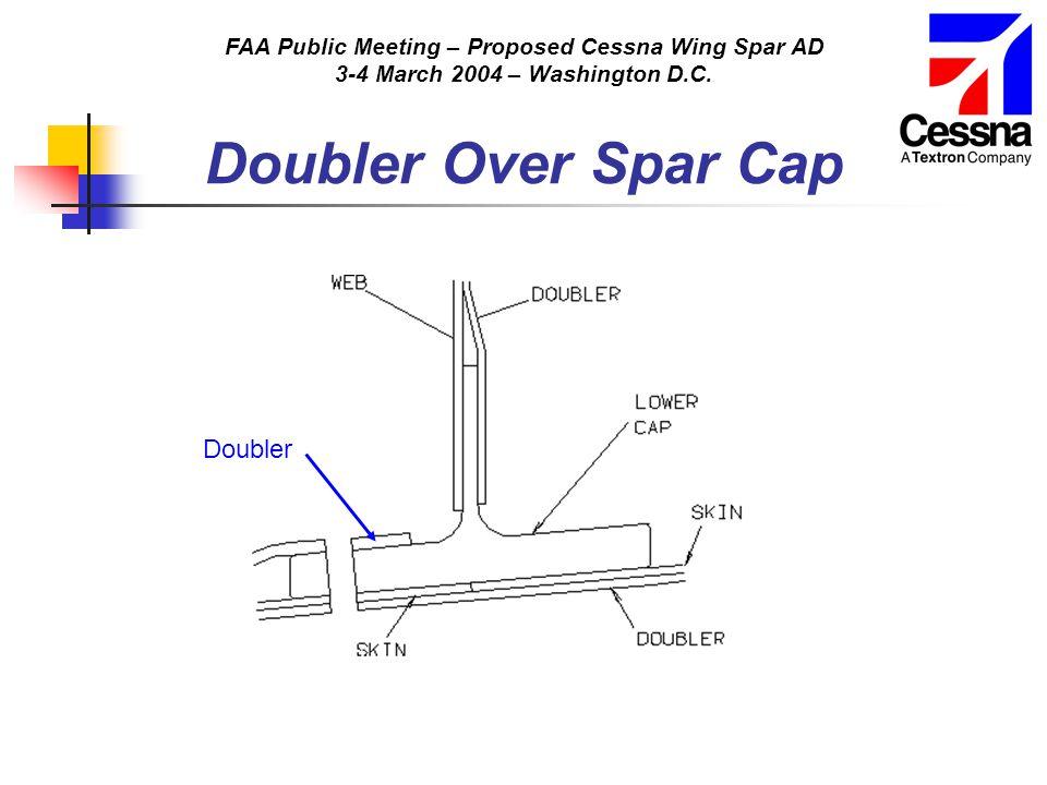 FAA Public Meeting – Proposed Cessna Wing Spar AD 3-4 March 2004 – Washington D.C. Doubler Over Spar Cap Doubler