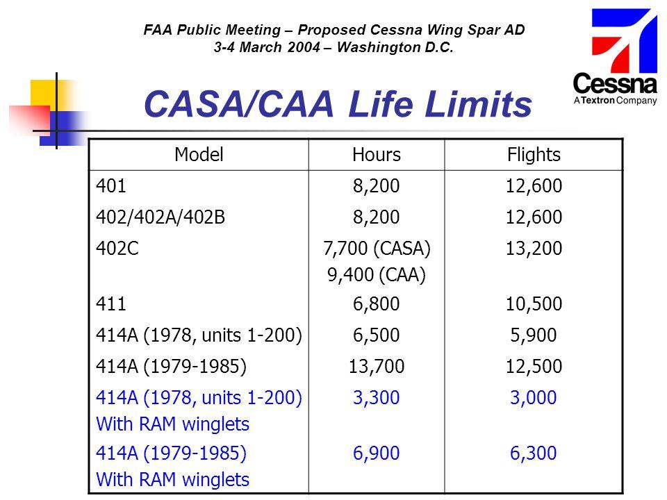 FAA Public Meeting – Proposed Cessna Wing Spar AD 3-4 March 2004 – Washington D.C. CASA/CAA Life Limits ModelHoursFlights 4018,20012,600 402/402A/402B