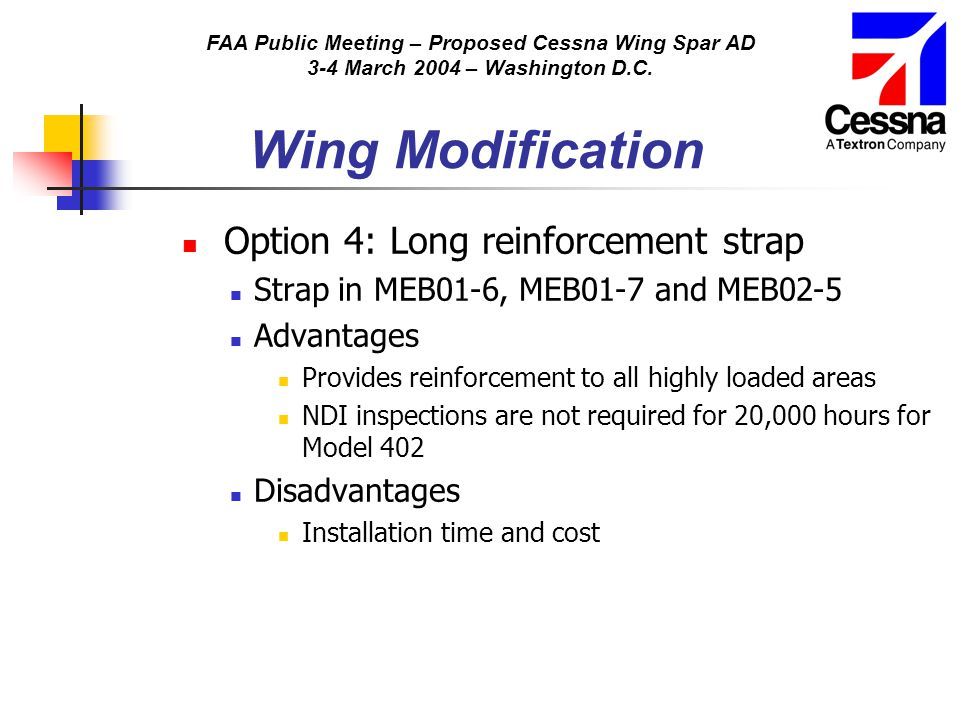 FAA Public Meeting – Proposed Cessna Wing Spar AD 3-4 March 2004 – Washington D.C. Wing Modification Option 4: Long reinforcement strap Strap in MEB01