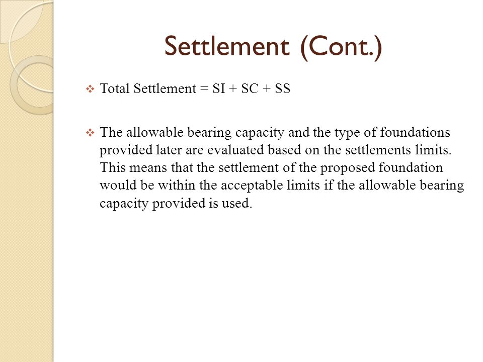  When building structures on top of soils, one needs to have some knowledge of how settlement occurs & how fast settlement will occur in a given situ