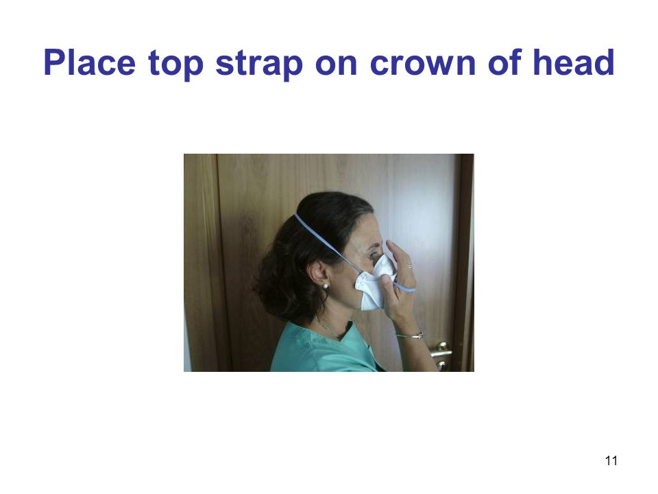 11 Place top strap on crown of head