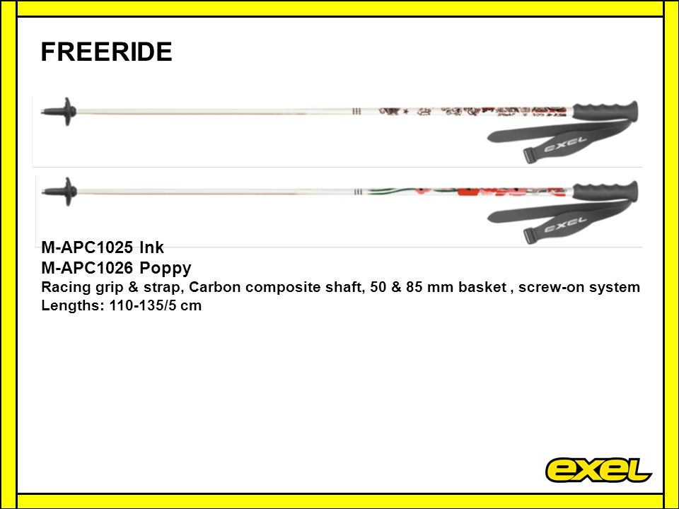 FREERIDE M-APC1025 Ink M-APC1026 Poppy Racing grip & strap, Carbon composite shaft, 50 & 85 mm basket, screw-on system Lengths: 110-135/5 cm