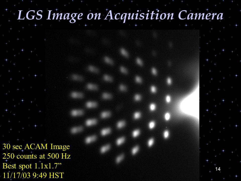 14 LGS Image on Acquisition Camera 30 sec ACAM Image 250 counts at 500 Hz Best spot 1.1x1.7 11/17/03 9:49 HST