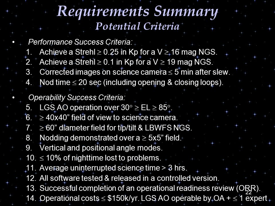 22 Requirements Summary Potential Criteria Performance Success Criteria: 1.Achieve a Strehl  0.25 in Kp for a V  16 mag NGS.