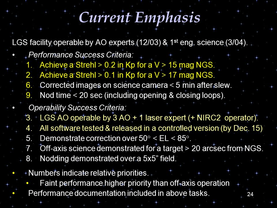 24 Current Emphasis LGS facility operable by AO experts (12/03) & 1 st eng.