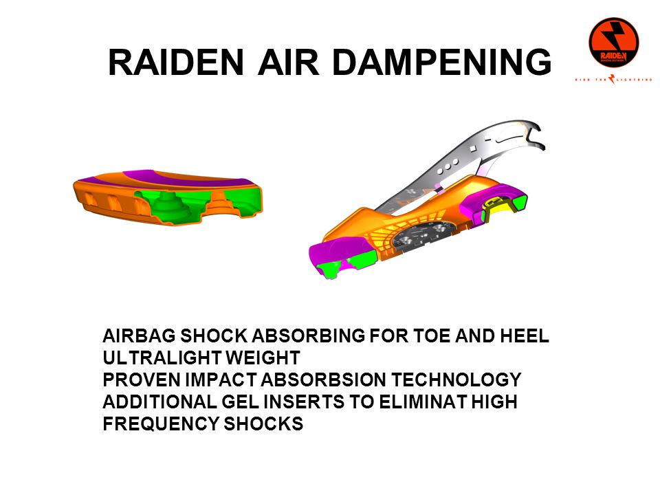 RAIDEN AIR DAMPENING AIRBAG SHOCK ABSORBING FOR TOE AND HEEL ULTRALIGHT WEIGHT PROVEN IMPACT ABSORBSION TECHNOLOGY ADDITIONAL GEL INSERTS TO ELIMINAT HIGH FREQUENCY SHOCKS