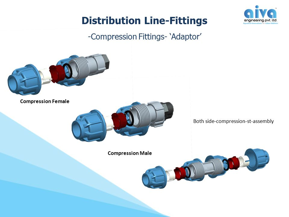 Compression Male Distribution Line-Fittings -Compression Fittings- 'Adaptor' Compression Female Both side-compression-st-assembly