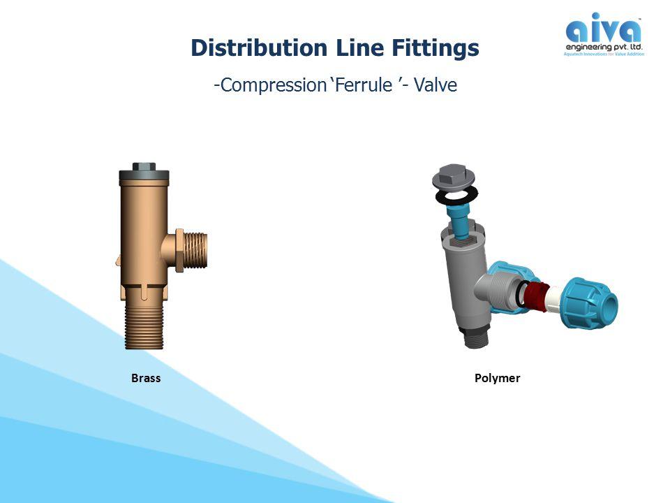 Distribution Line Fittings -Compression 'Ferrule '- Valve BrassPolymer