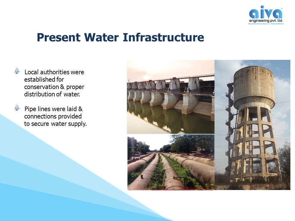 Present Water Infrastructure Local authorities were established for conservation & proper distribution of water. Pipe lines were laid & connections pr