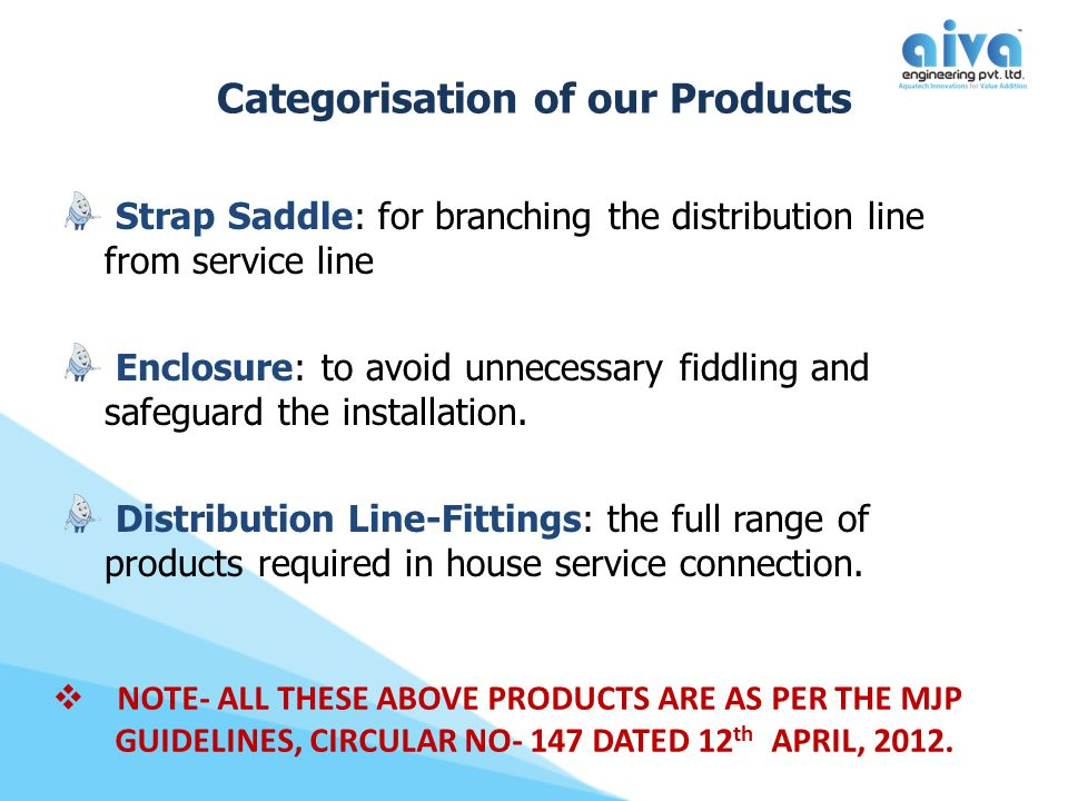 Categorisation of our Products Strap Saddle: for branching the distribution line from service line Enclosure: to avoid unnecessary fiddling and safegu