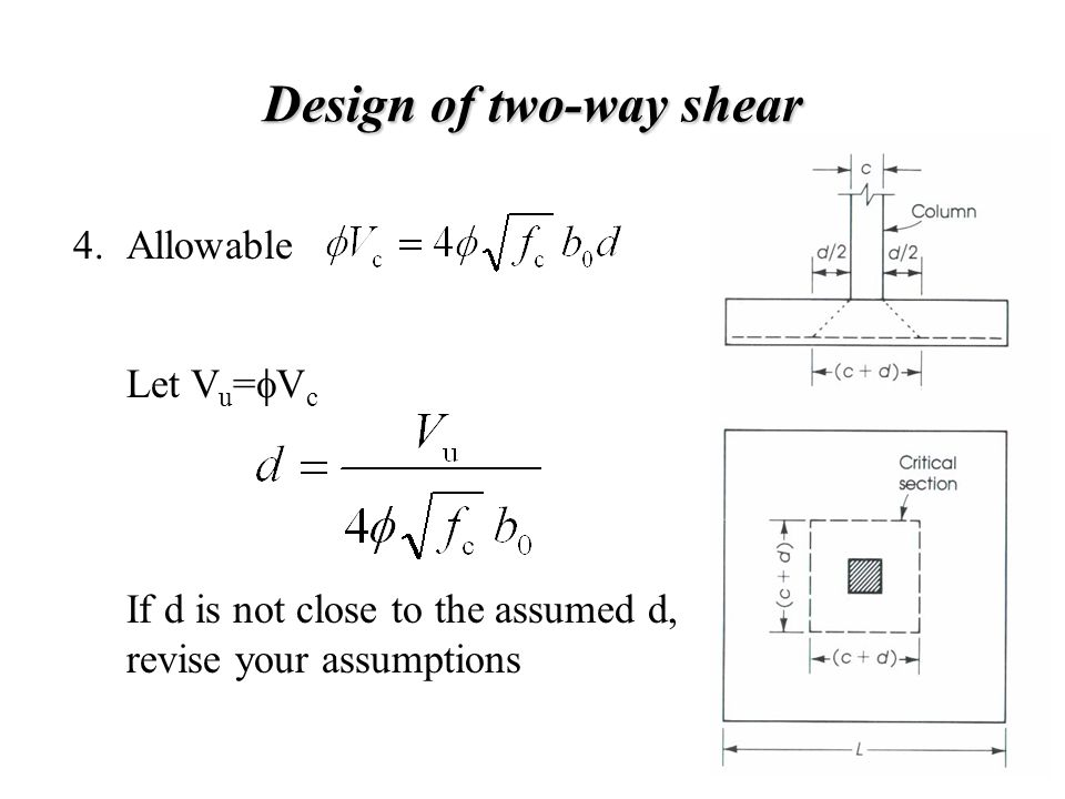 Design of two-way shear Allowable Let V u =  V c 4. If d is not close to the assumed d, revise your assumptions