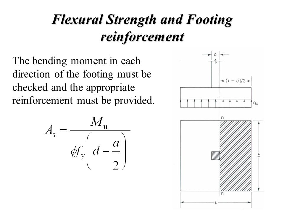 Flexural Strength and Footing reinforcement The bending moment in each direction of the footing must be checked and the appropriate reinforcement must