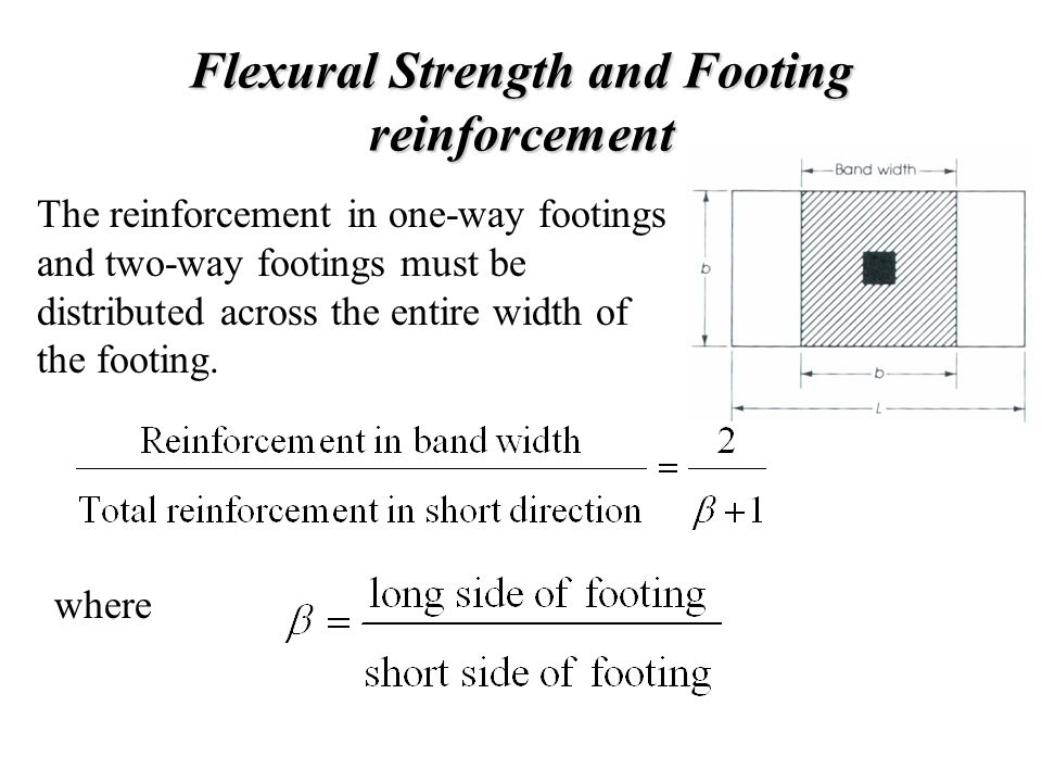Flexural Strength and Footing reinforcement The reinforcement in one-way footings and two-way footings must be distributed across the entire width of