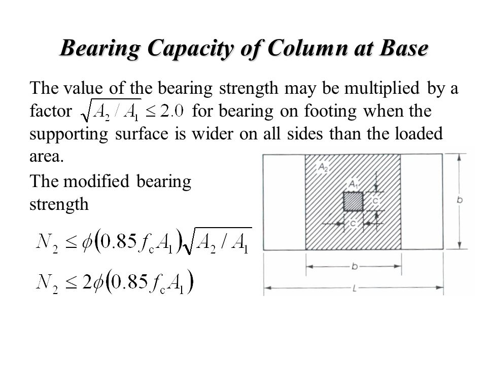 Bearing Capacity of Column at Base The value of the bearing strength may be multiplied by a factor for bearing on footing when the supporting surface