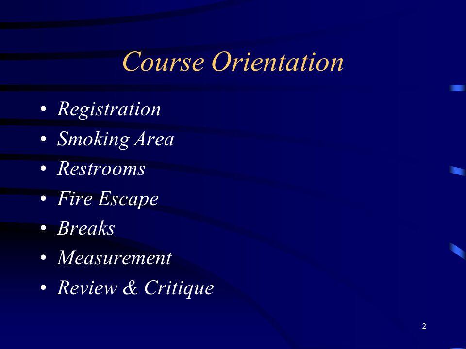 2 Course Orientation Registration Smoking Area Restrooms Fire Escape Breaks Measurement Review & Critique
