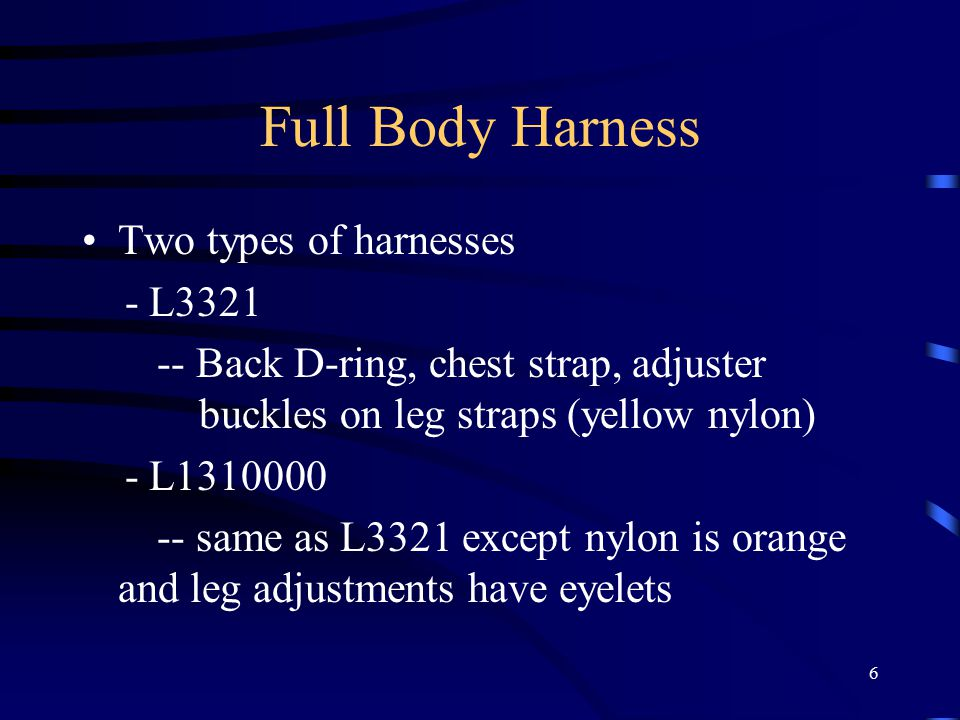 7 Full Body Harness Proper care for your harness - Corrosion - Chemical hazards - Excessive Heat - Electrical hazards - Capacity