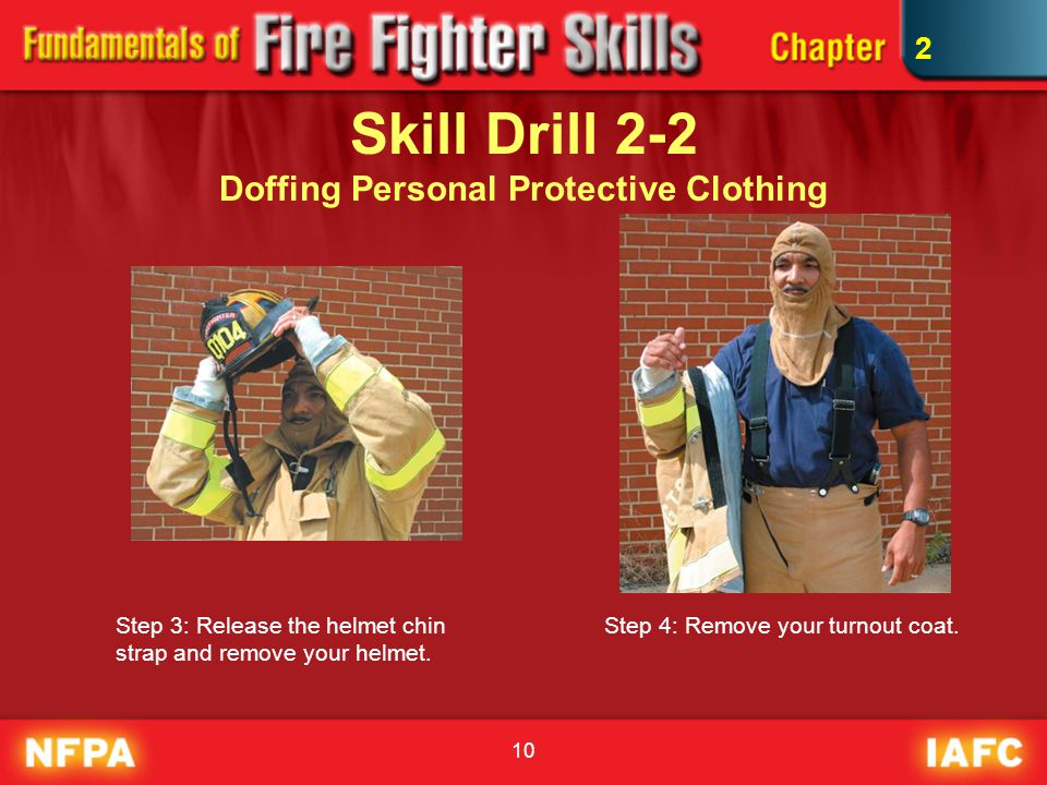 10 Skill Drill 2-2 Doffing Personal Protective Clothing Step 3: Release the helmet chin strap and remove your helmet. Step 4: Remove your turnout coat
