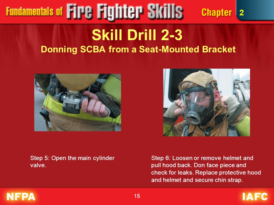 15 Skill Drill 2-3 Donning SCBA from a Seat-Mounted Bracket Step 5: Open the main cylinder valve. Step 6: Loosen or remove helmet and pull hood back.