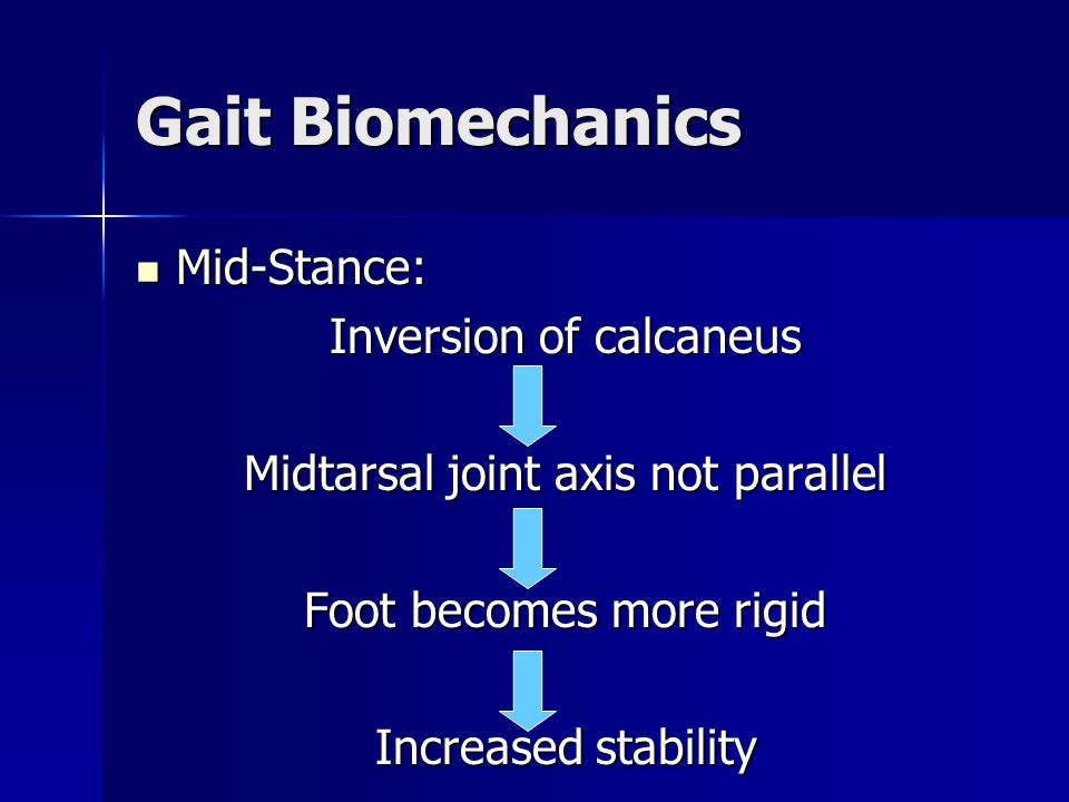 Gait Biomechanics Mid-Stance: Mid-Stance: Inversion of calcaneus Midtarsal joint axis not parallel Foot becomes more rigid Increased stability