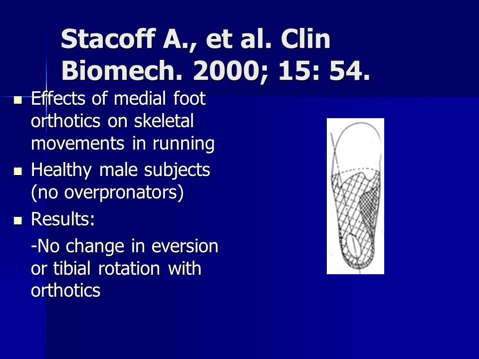 Stacoff A., et al. Clin Biomech. 2000; 15: 54. Effects of medial foot orthotics on skeletal movements in running Effects of medial foot orthotics on s