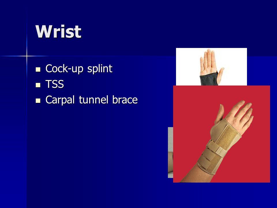 Wrist Cock-up splint Cock-up splint TSS TSS Carpal tunnel brace Carpal tunnel brace