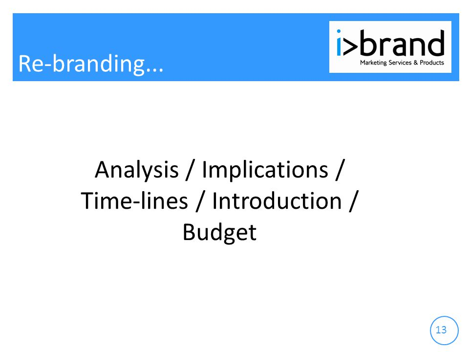 Re-branding Analysis / Implications / Time-lines / Introduction / Budget
