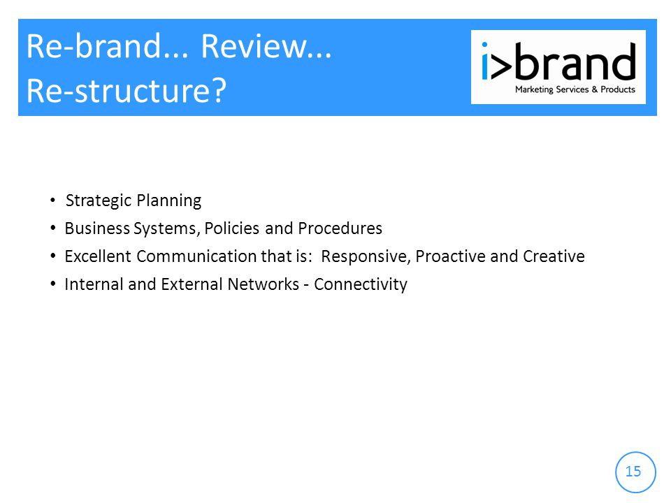 15 Re-brand... Review... Re-structure.