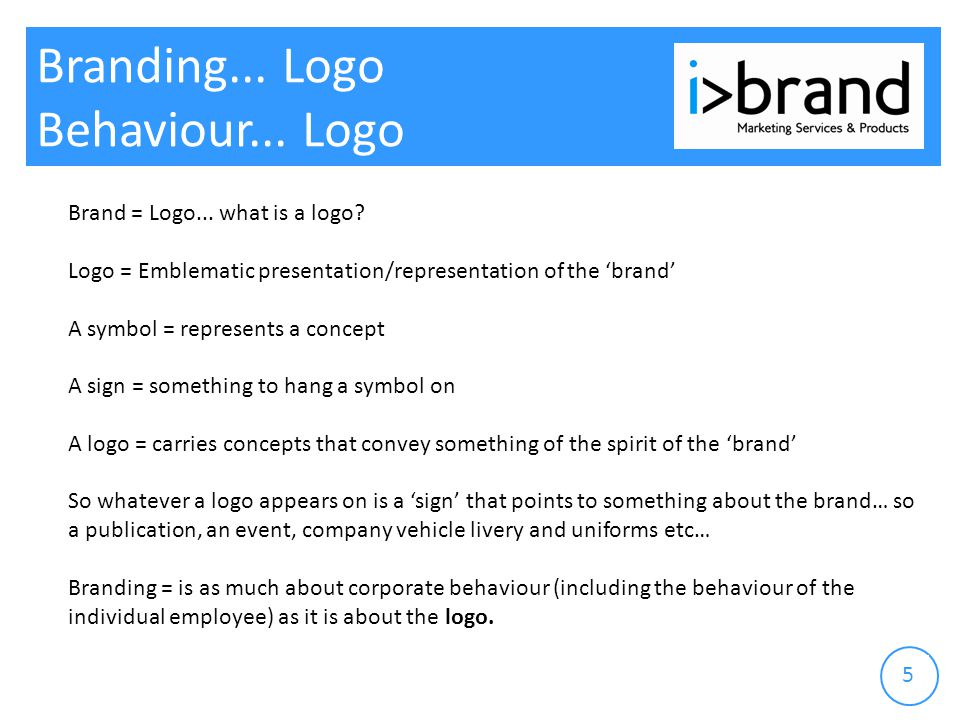 Branding... Logo Behaviour... Logo Brand = Logo...
