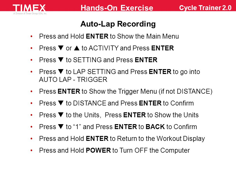 Please Pass Out the Cheat Sheets for Working Out with Cycle Trainer 2.0...