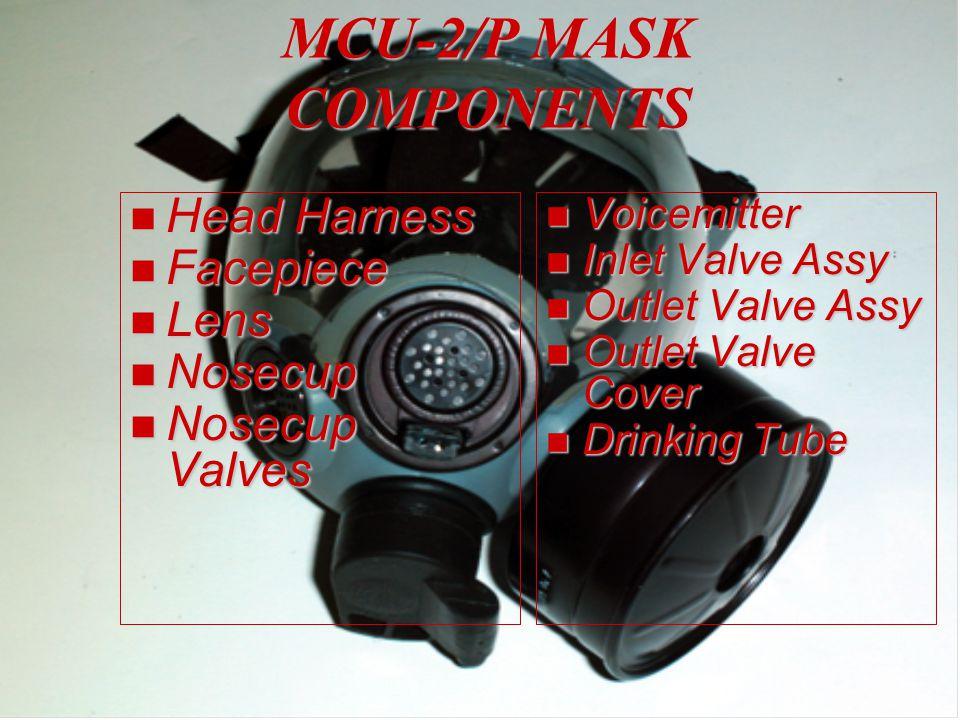 MCU-2/P MASK COMPONENTS n Head Harness n Facepiece n Lens n Nosecup n Nosecup Valves n Voicemitter n Inlet Valve Assy n Outlet Valve Assy n Outlet Valve Cover n Drinking Tube