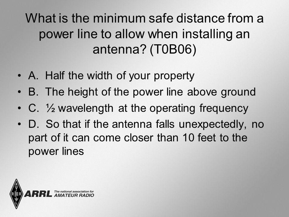 What is the minimum safe distance from a power line to allow when installing an antenna? (T0B06) A. Half the width of your property B. The height of t