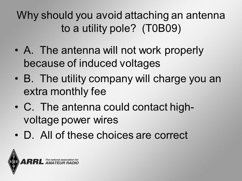 Why should you avoid attaching an antenna to a utility pole.