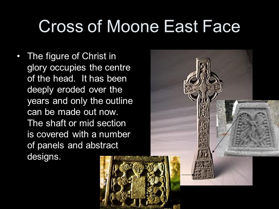 Cross of Moone East Face The figure of Christ in glory occupies the centre of the head.