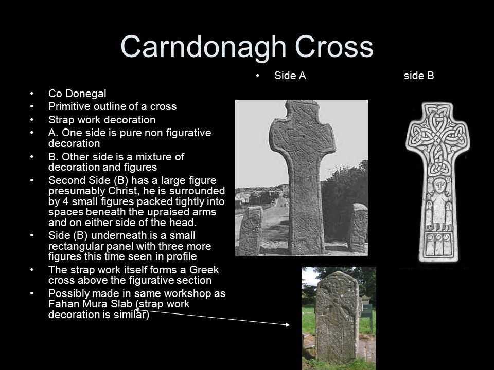 Carndonagh Cross Co Donegal Primitive outline of a cross Strap work decoration A.