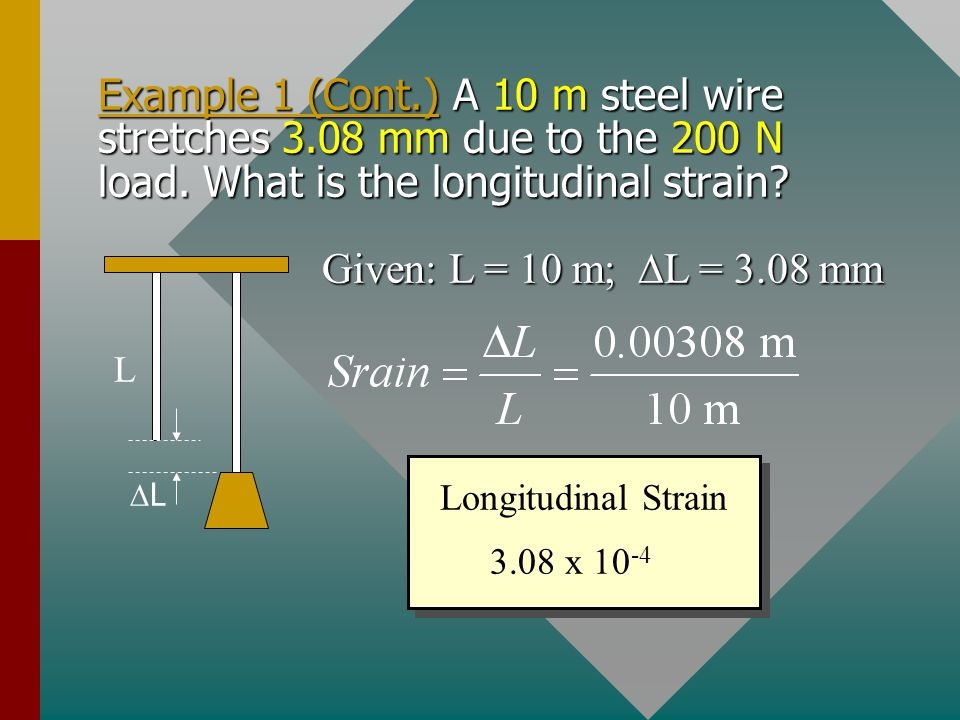 Example 1. A steel wire 10 m long and 2 mm in diameter is attached to the ceiling and a 200-N weight is attached to the end. What is the applied stres