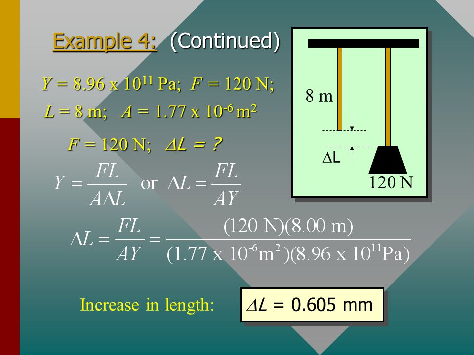 Example 4: Young's modulus for brass is 8.96 x 10 11 Pa. A 120-N weight is attached to an 8-m length of brass wire; find the increase in length. The d