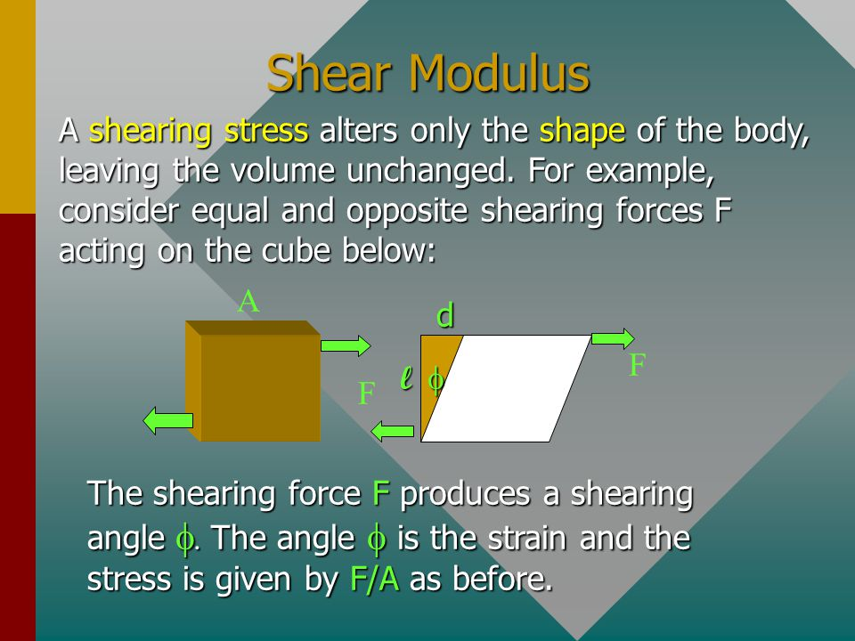 Shear Modulus A F F  ld A shearing stress alters only the shape of the body, leaving the volume unchanged.
