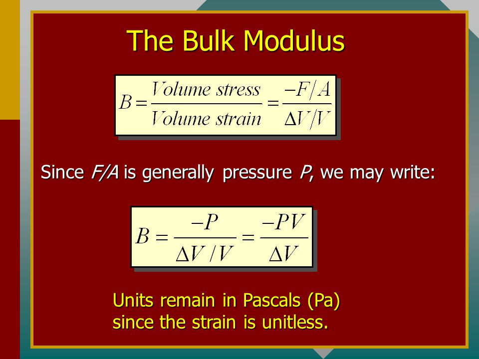 The Shear Modulus F F  ldA The strain is the angle expressed in radians: Stress is force per unit area: The shear modulus S is defined as the ratio o