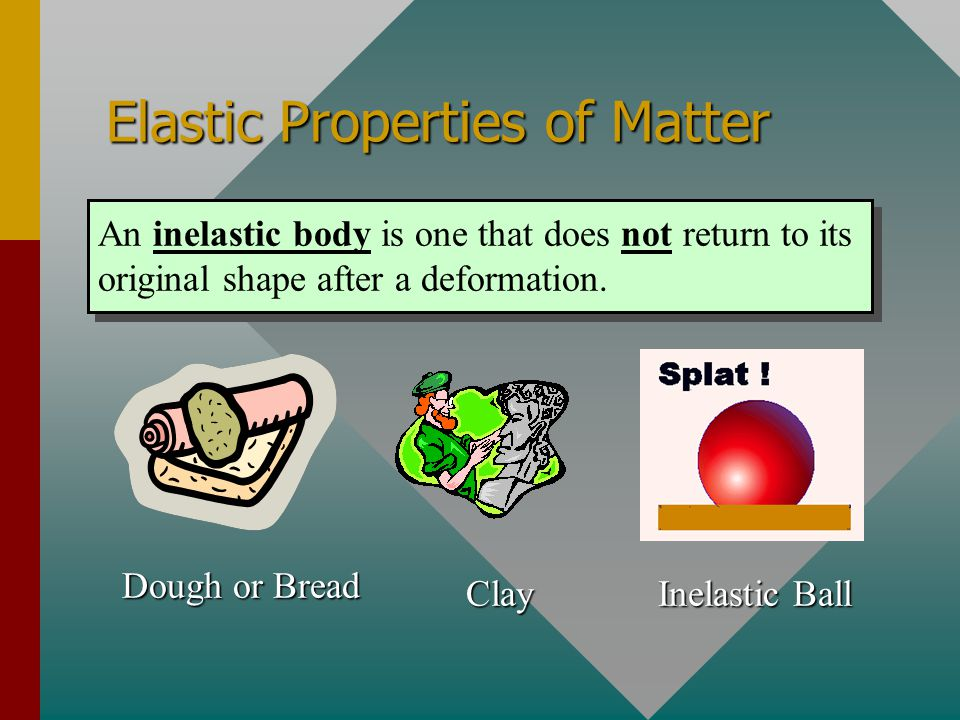 Elastic Properties of Matter An elastic body is one that returns to its original shape after a deformation. Golf Ball Soccer Ball Rubber Band