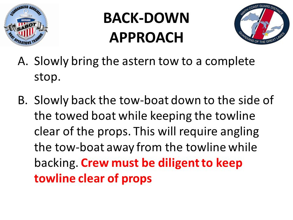 BACK-DOWN APPROACH A.Slowly bring the astern tow to a complete stop.