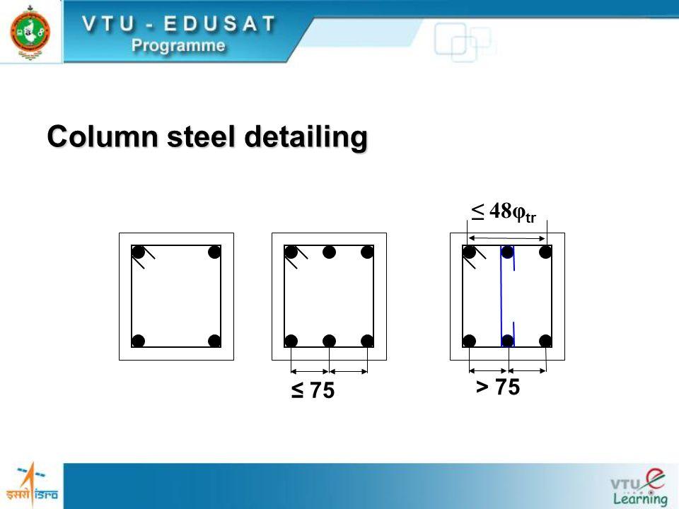 ≤ 75 > 75 ≤ 48φ tr Column steel detailing