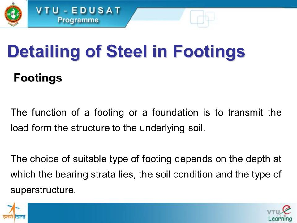 Types of footing Following are the different types of footing used for concrete structure Isolated footing Combined footings Strap footing Mat or raft foundation Pile foundation