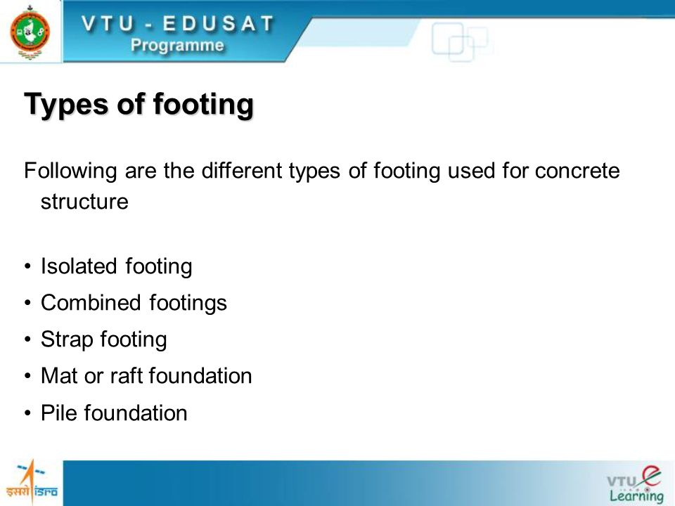 Isolated footings Isolated footings are provided under each column and may be square, rectangular, or circular in plan.