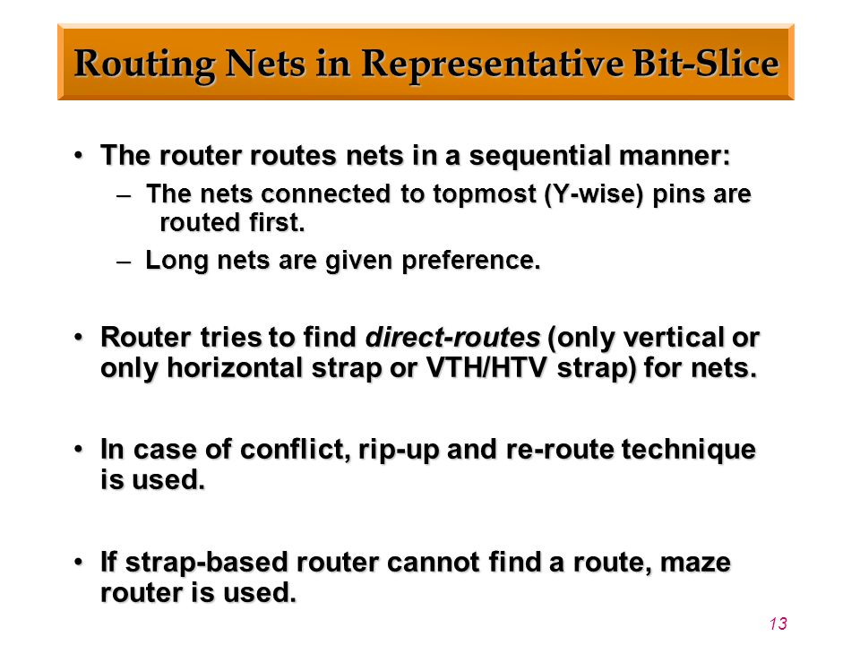 13 Routing Nets in Representative Bit-Slice The router routes nets in a sequential manner:The router routes nets in a sequential manner: – The nets connected to topmost (Y-wise) pins are routed first.
