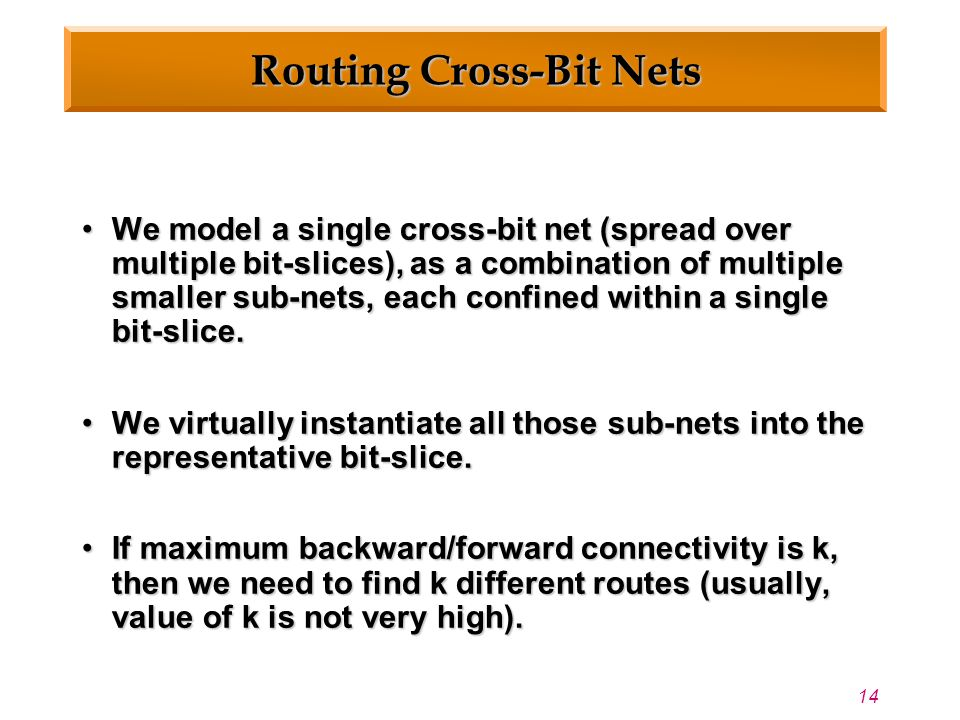 14 Routing Cross-Bit Nets We model a single cross-bit net (spread over multiple bit-slices), as a combination of multiple smaller sub-nets, each confined within a single bit-slice.We model a single cross-bit net (spread over multiple bit-slices), as a combination of multiple smaller sub-nets, each confined within a single bit-slice.